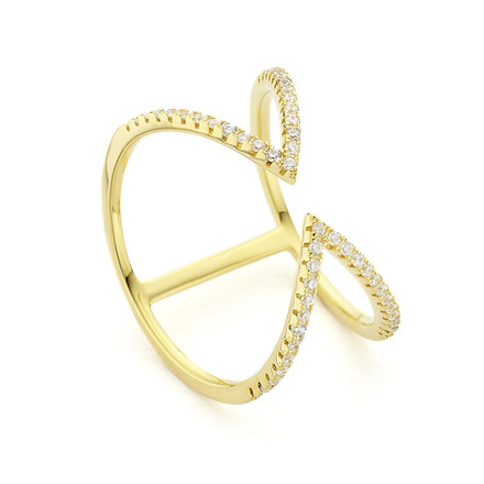 Arrow Open Cuff Ring Yellow Gold Vermeil