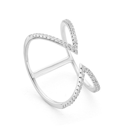 Arrow Open Cuff Ring Silver