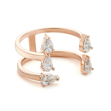 pear crystals open stack ring - rose gold vermeil