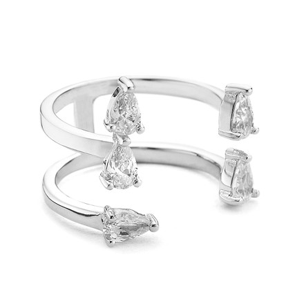 open stacking ring facetted pear czs - sterling silver