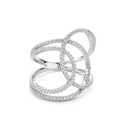 Curvy Curvy Sterling Silver CZ Bypass Ring