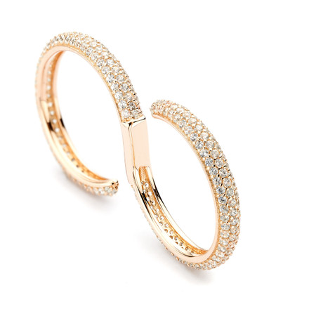 wave cz pave open ring - white crystals rose gold vermeil