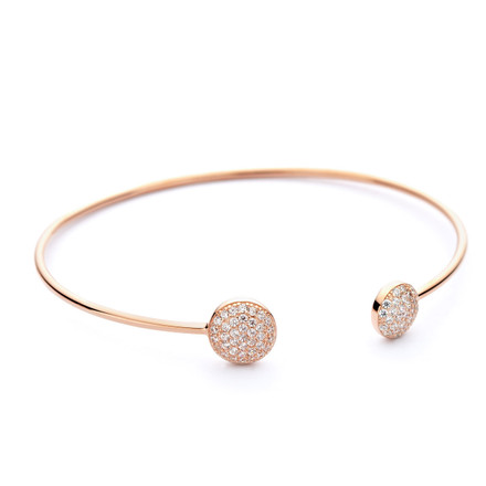 Rose Gold 2 Disc Bangle Pave CZs
