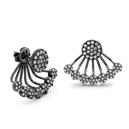 Retro black under lobe cz swing earrings
