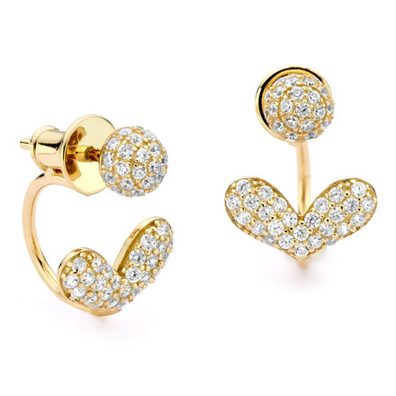 Heart Pave Swing Earring Studs Gold