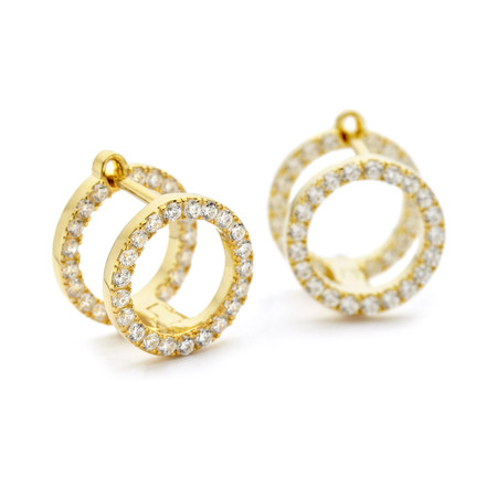 Gold double stack earrings with bold face czs