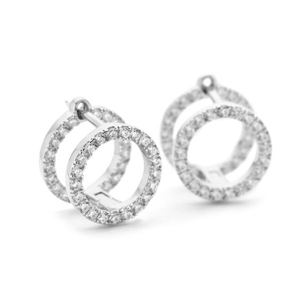 Sterling Silver Double Stack Earrings CZs Front Facing