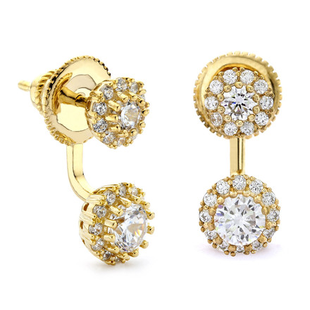 Brilliant czs with halos front and back swing earrings gold