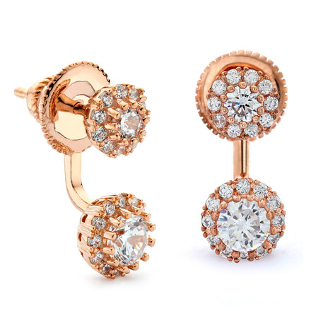 Round cz halos under lobe front and back swing earrings rose gold