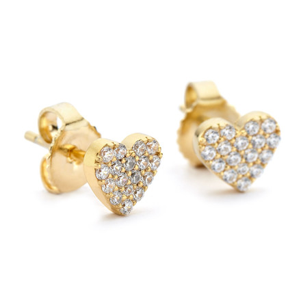 CZs Pave My Heart Gold Stud Earrings