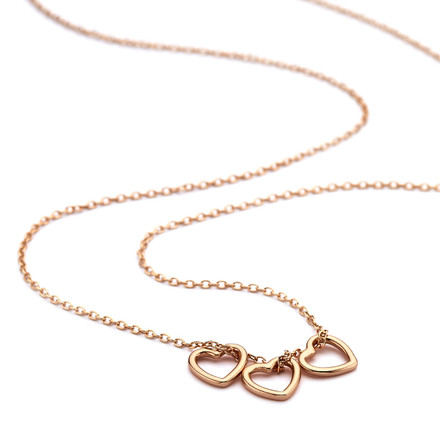 Rose Gold Triple Heart Necklace