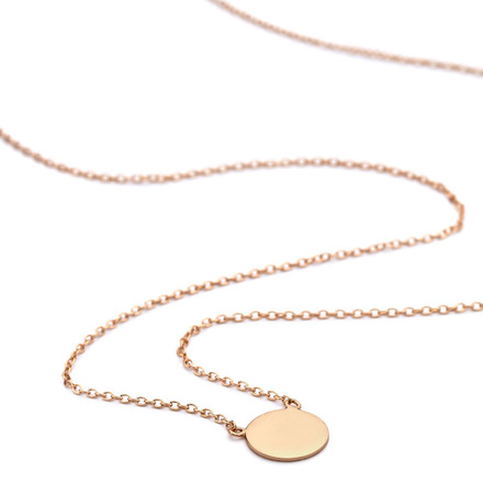 Rose gold disc pendant necklace