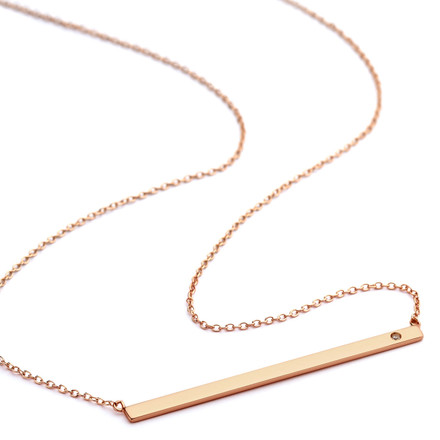 Cz accent flat bar necklace rose gold