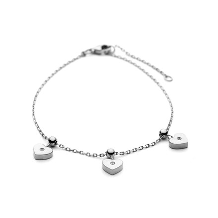 Hearts Charm Bracelet Sterling Silver and CZs