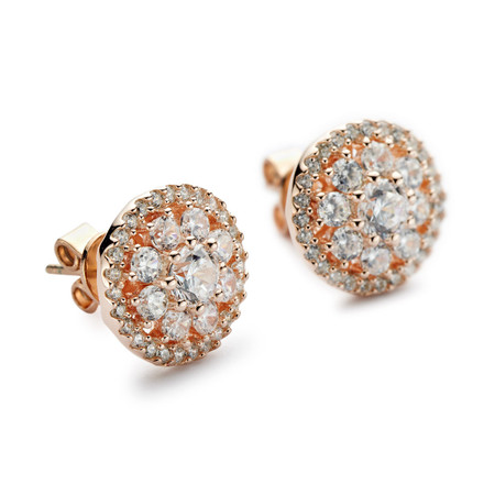 Round Cluster Halo CZ Stud Earrings - Rose Gold
