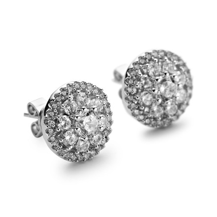 Silver round halo cluster earring studs