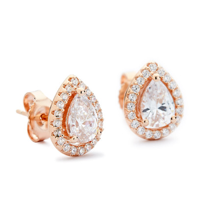 CZ Teardrop Halo Stud Earrings - Rose Gold