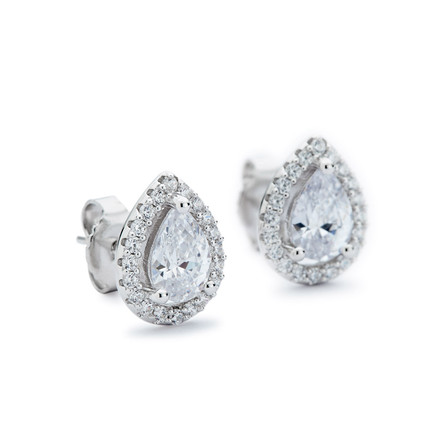Teardrop Stud Earrings w CZ Halo - Sterling Silver