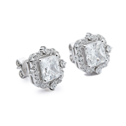 Silver square cz vintage halo stud earrings
