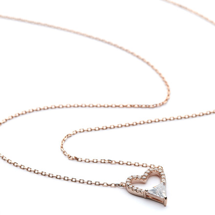 Rose Gold CZ Heart Pave Necklace