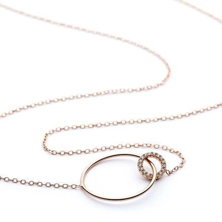 Rose gold cz double ring necklace