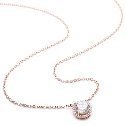 Rose gold round crystal pendant necklace
