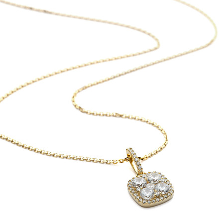 Cluster cz and halo square pendant gold vermeil