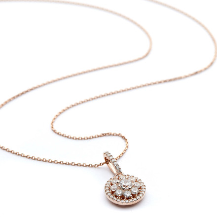 Rose gold round necklace pendant w cluster czs