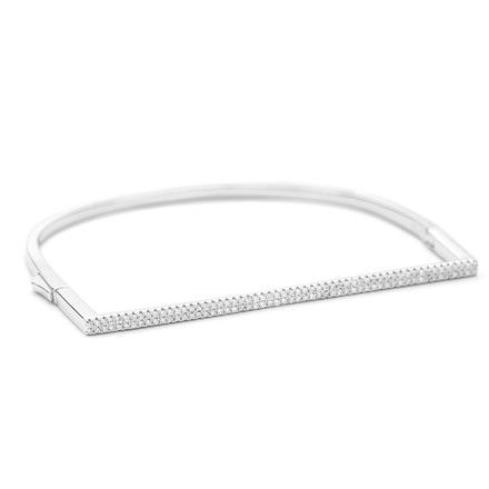 Crystal Cuff Bangle in Sterling Silver