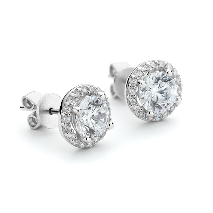 CZ Round Halo Stud Earrings in Sterling Silver