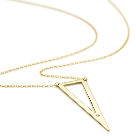 Yellow gold Allobar triangle necklace with long triangular shaped pendant on 45 cm chain sterling silver