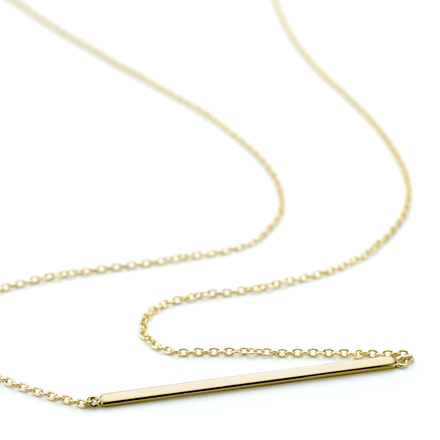 Allobar collection ingot necklace 2mm wide in yellow gold. Sterling silver core metal, 40 cm chain.