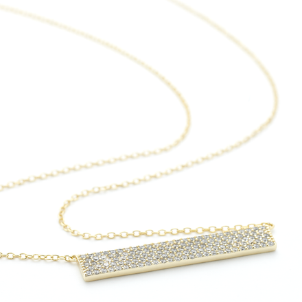 Flat crystal ingot Allobar 40 cm necklace 6mm wide yellow gold over sterling silver core metal