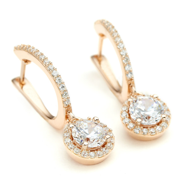 Rose gold constellation collection round CZ halo drop earrings from One by One