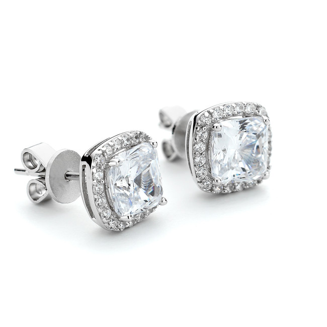 Sterling silver Constellations square crystal stud earrings with halo around centre stone. With anti-tarnish rhodium coating.