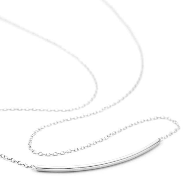Allobar curved ingot necklace in sterling silver with white rhodium overlay
