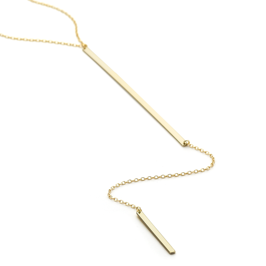 Double ingot long lariat necklace with 50 cm chain yellow gold vermeil over sterling silver
