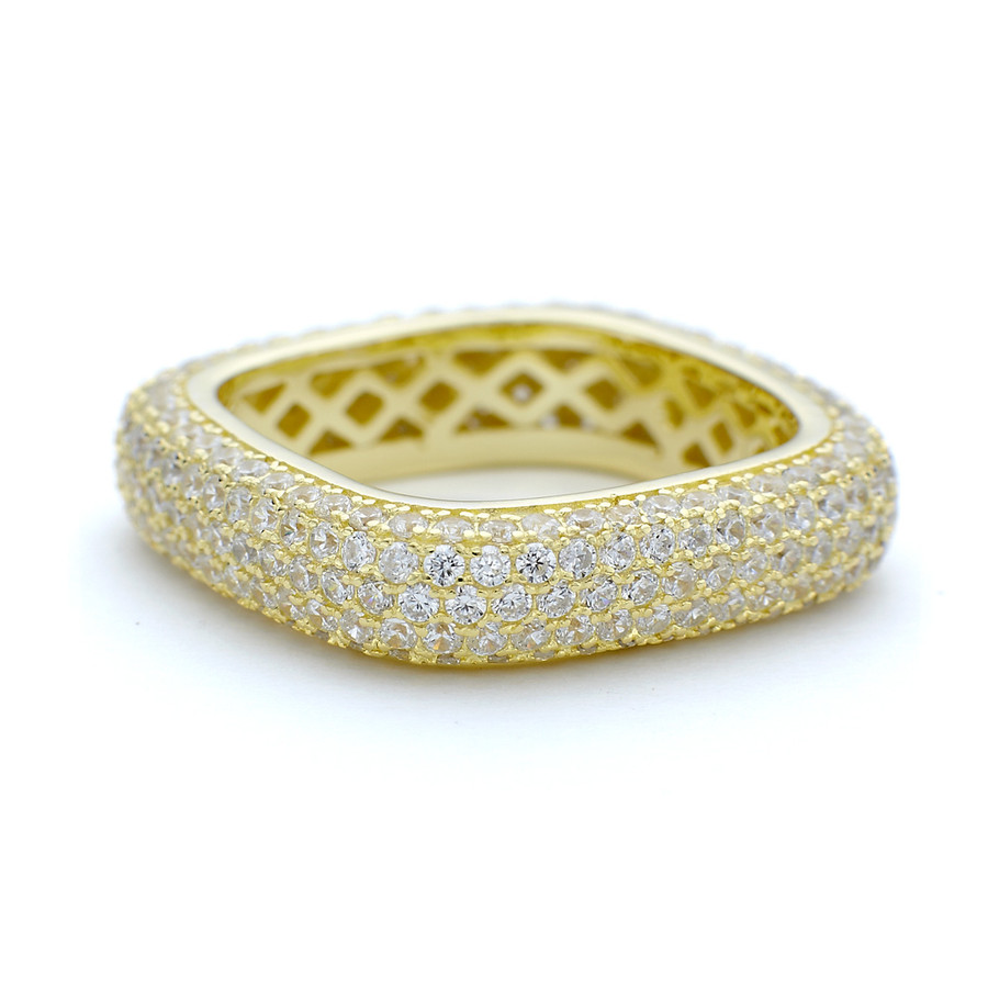 yellow gold vermeil Constellations 5mm thick CZ white zirconia ring from One by One Jewellery London