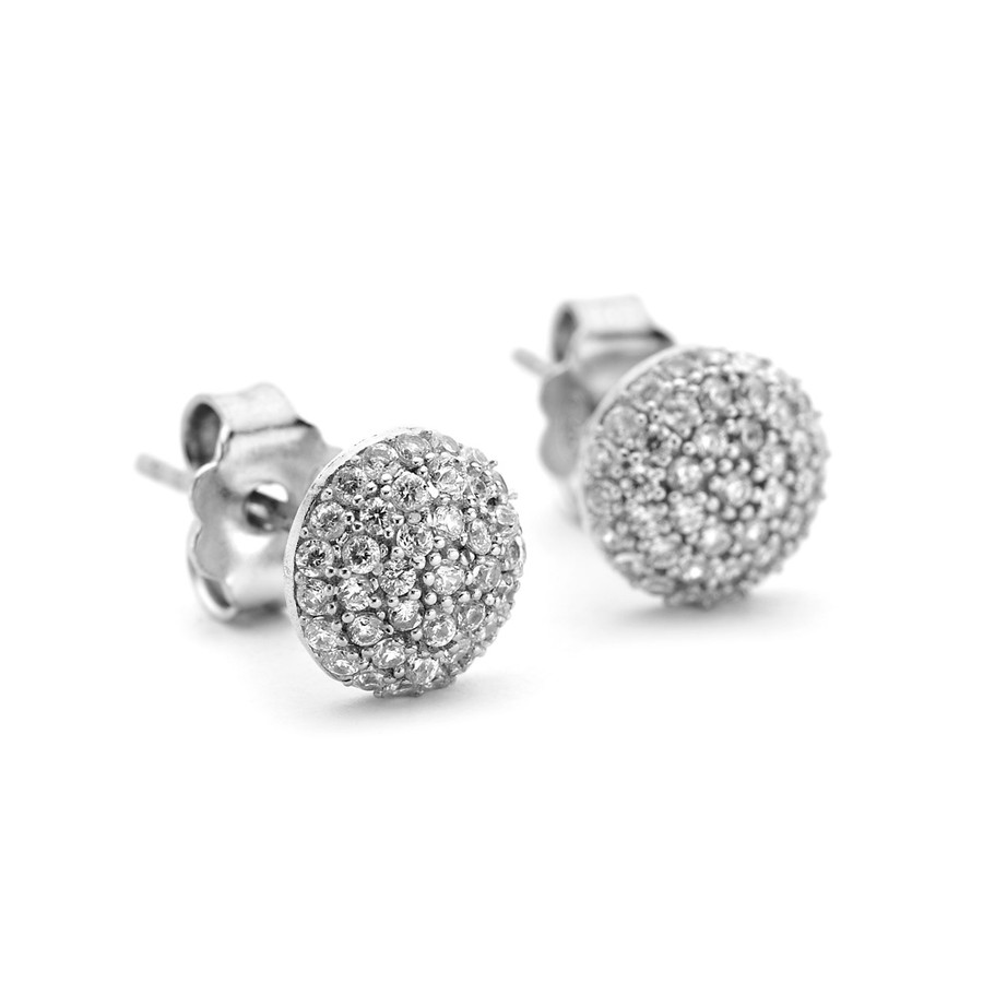 pave crystal round domed studs in sterling silver