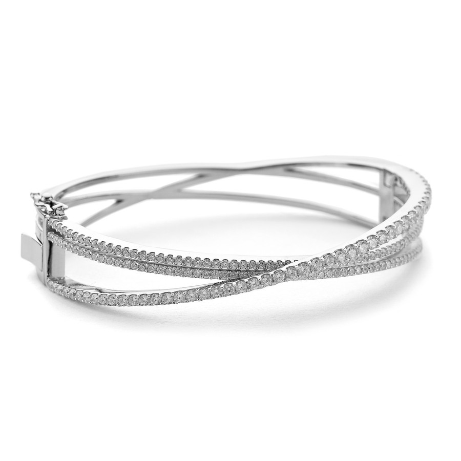 cz crossover bangle silver