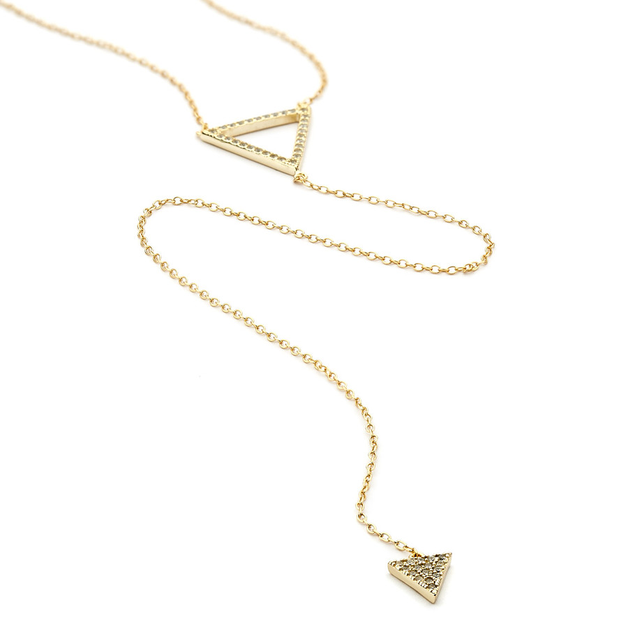 double triangle long lariat necklace cz pave - gold vermeil
