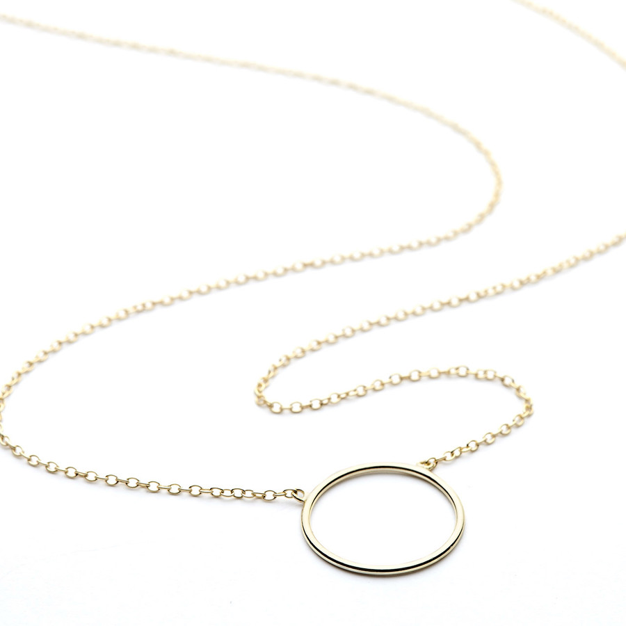 Single circle necklace yellow gold vermeil