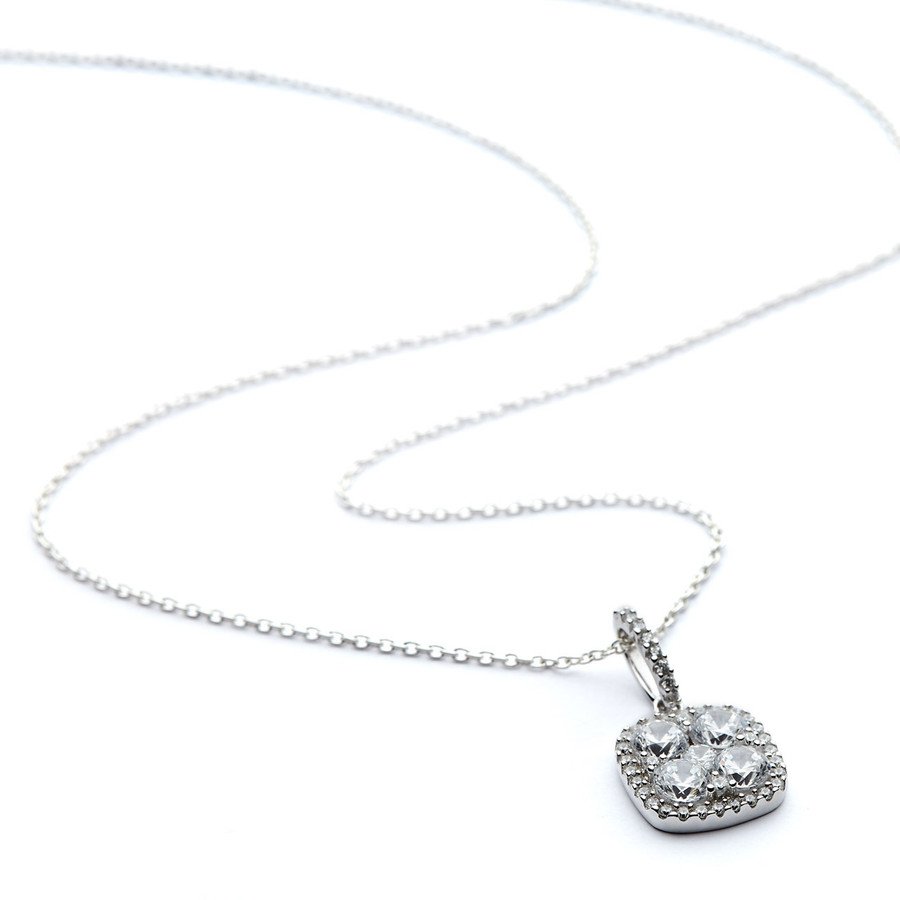 Square shaped silver cz cluster and halo necklace