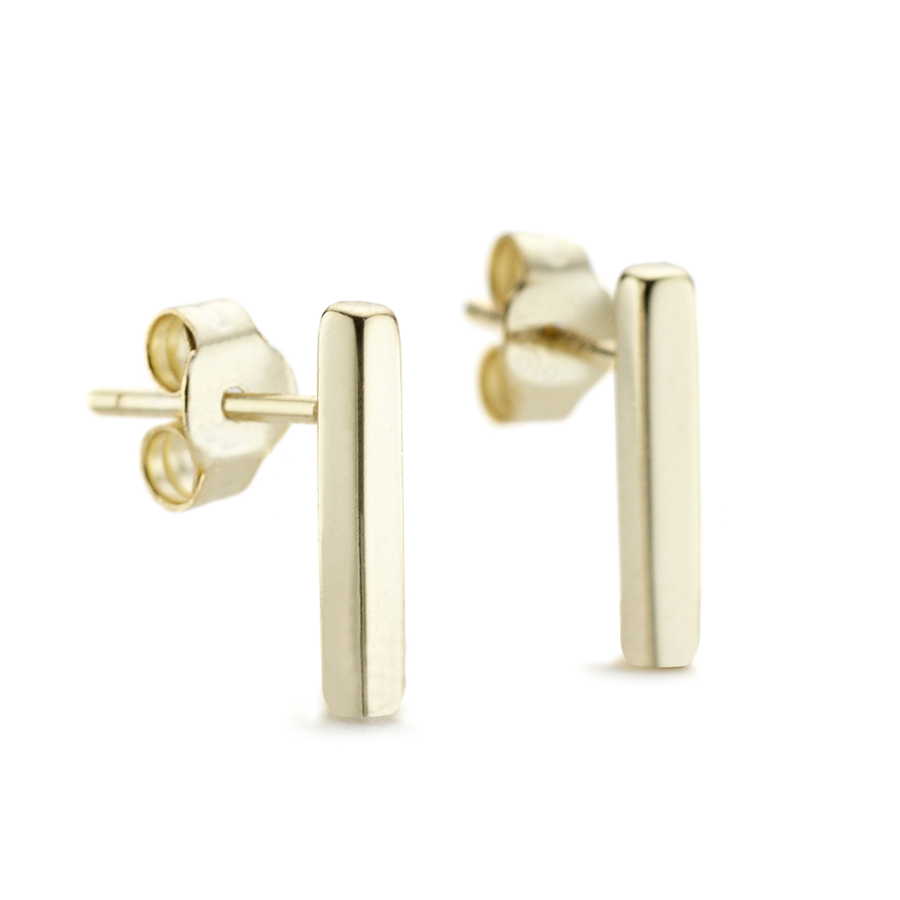 tiny pin bar stud earrings and gold solid