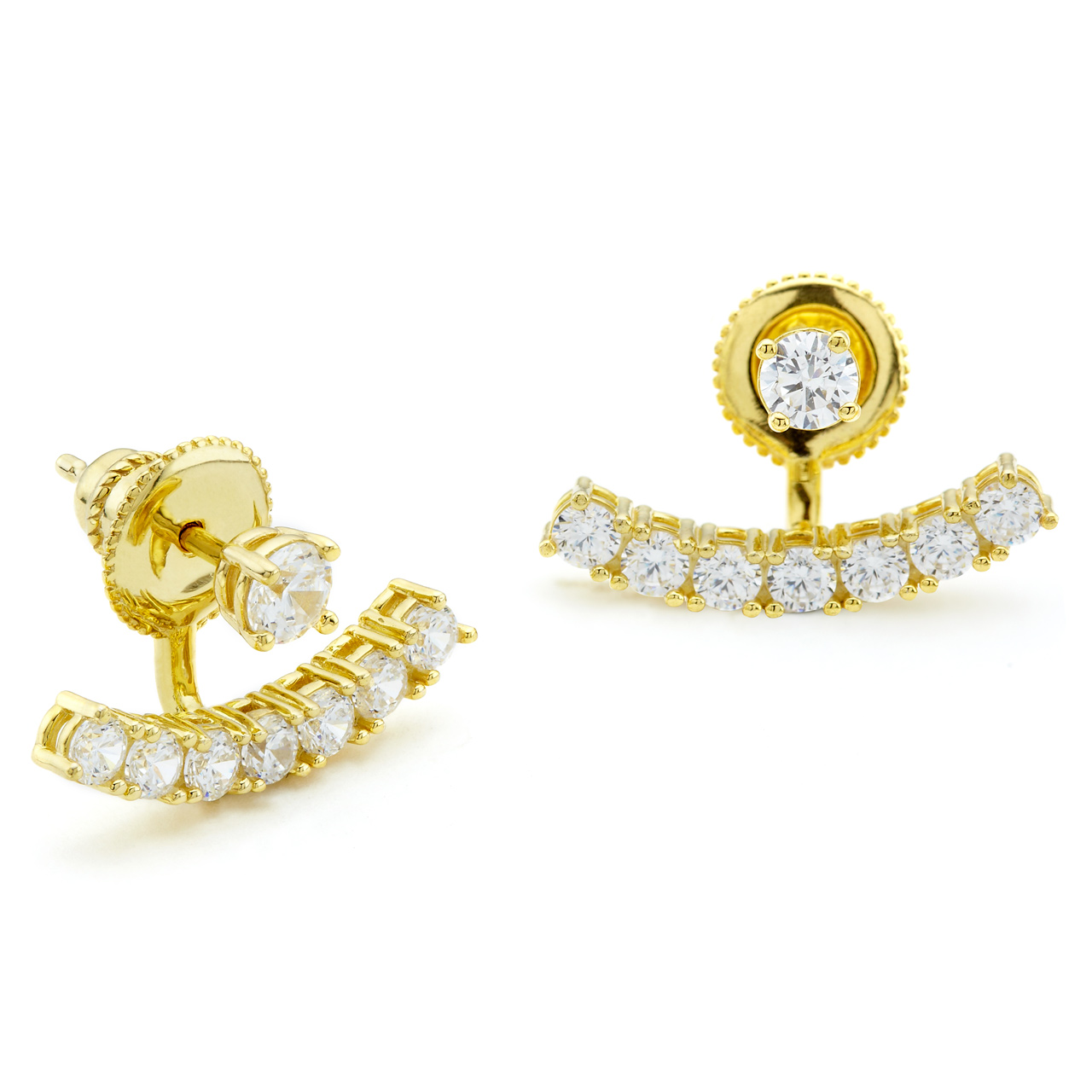 One By Cz Swing Ear Studs With Curved Bar In Yellow Gold Vermeil Constellations Collection