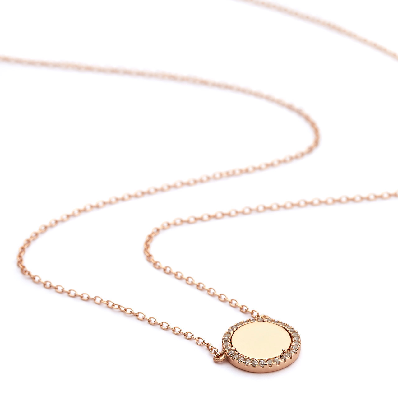 Cz halo mirror disc pendant necklace rose gold aloadofball Image collections