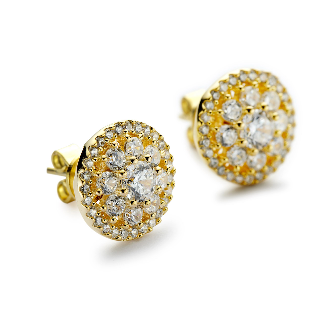 gold ct earrings side stud in aimeus and jp k tw diamond sapphire halo yellow