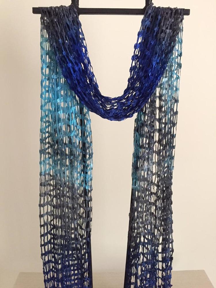 Open Weave Silk Scarf, Mystical Lagoon