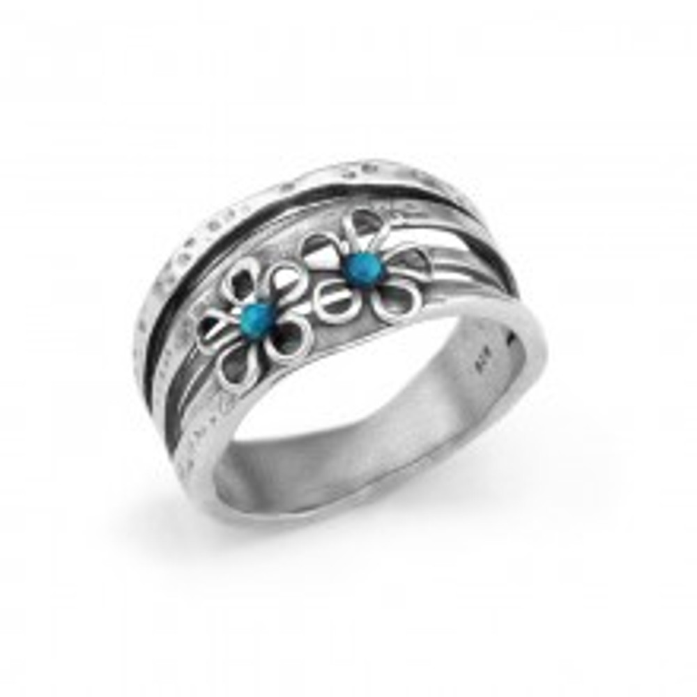 Silver Ring With Silver Flowers And Opal