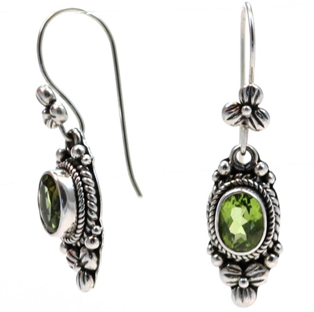 Sterling Silver 6x8 mm Peridot Earrings with Fishhook.  Available with matching ring (JR.0015) and pendant (JP.0003)